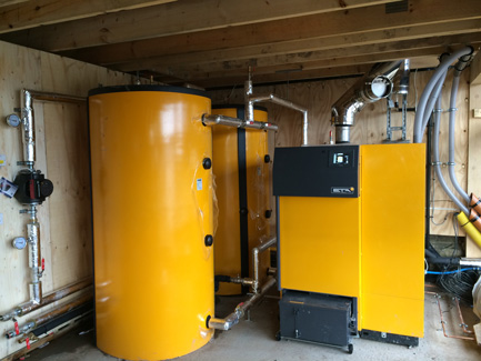 Boiler room with 70kW pellet boiler installation