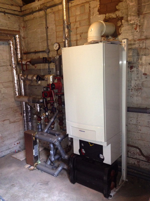A Worcester Bosch GB162 installation in Wrexham town centre