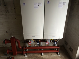 Twin boilers during installation