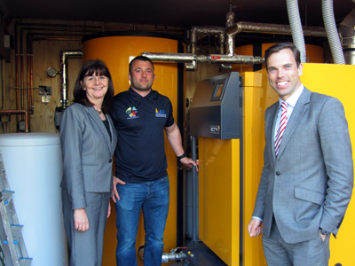 Ken Skates Am and Lesley Griffiths AM take a look round the new biomass boiler recently installed at Tower Hill Barns during the Open Day launch event