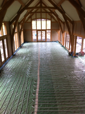 Underfloor heating pipework laid over the full floor